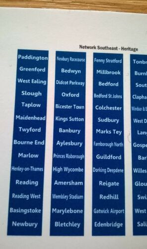 Network Southeast Heritage DMU Destination Blinds Decals Hornby Bachmann Lima OO