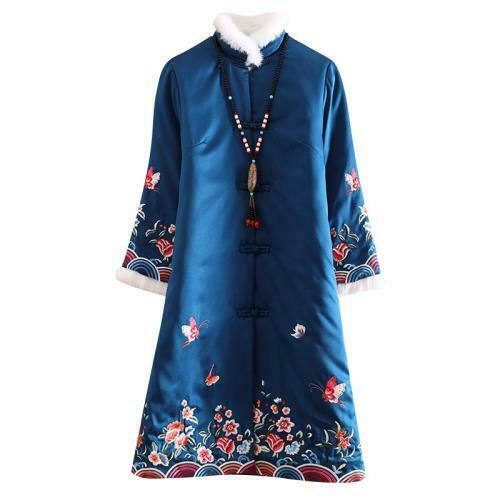 Chinese Style Cotton Coat Womens Winter Embroidery Quilted Thicken Long Jacket L