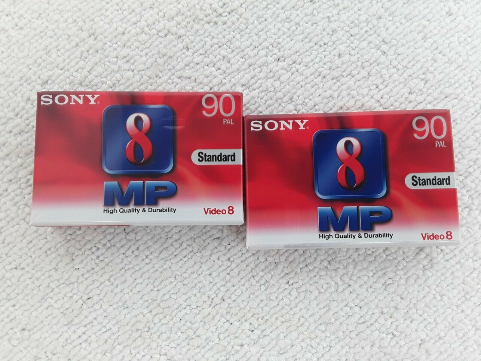 2 New Sony Video 8 MP 90 minute Video Cassette Tapes for all Video 8 and Hi8 Cam