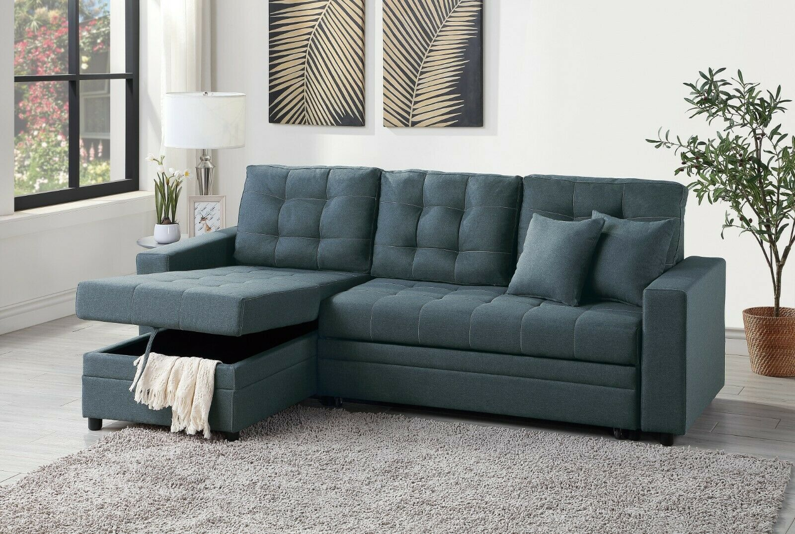 Small Sectional Sofa Reversible Chaise Couch Love Seat Living Room