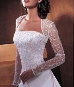Long-sleeved wedding dress shrug jacket bridal lace shawl Bolero coat S M L XL++