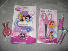 Disney Princesses Notebook Stamp Pad Scissors Nail Polish Lip Gloss Pink NEW!