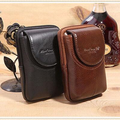Men Genuine Leather Cell Phone Case Cover  Skin Belt Purse Fanny Pack Waist Bag
