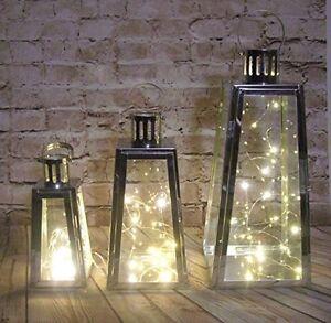 slanted-shaped-stainless-steel-set-3-LANTERNS-amp-20-LED-lights-INDOOR-OUTDOOR