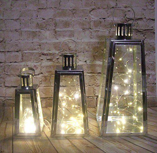 slanted shaped stainless steel set 3 LANTERNS  & 20 LED lights INDOOR/OUTDOOR