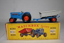 MATCHBOX LESNEY KING SIZE #K-11 FORDSON TRACTOR AND FARM TRAILER, ORANGE HUBS #1