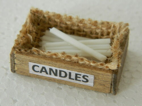 HH14 1//12th scale DOLLS HOUSE HANDMADE WOODEN BOX OF WHITE WAXED CANDLES