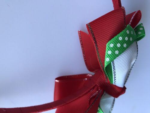 Children Girl Kids Red Green Ribbon Bow Christmas Xmas Hair head Headband Hoop