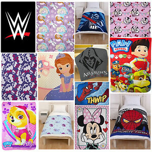 Disney-amp-Kids-Character-Fleece-Blanket-Bed-Throw-Brand-New-Gift
