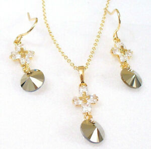 Cristal-Boucles-Ensemble-Collier-18K-Jaune-Plaque-or-Gris-Metallique-Unique-Cz