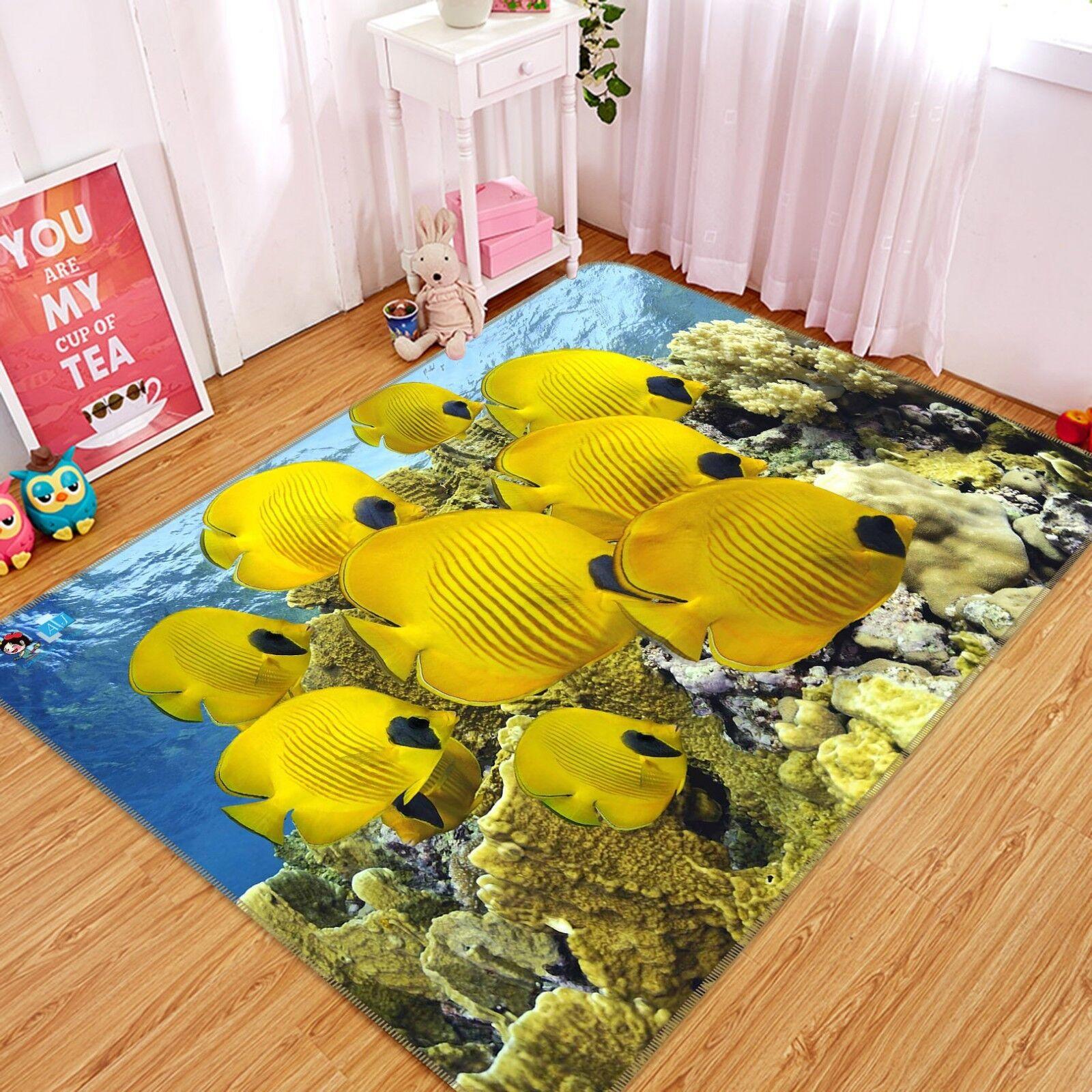 3D Gelb Fish Ocean 7 Non Slip Rug Mat Room Room Room Mat Quality Elegant Photo Carpet UK f263db