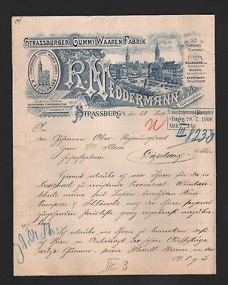 Neddermann Gummiwaren-fabrik Ein GefüHl Der Leichtigkeit Und Energie Erzeugen Brief 1900 Strassburg R