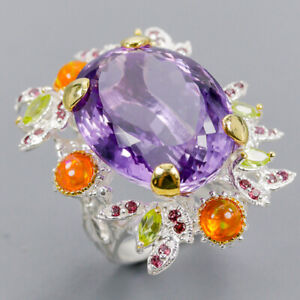 Amethyst Ring Silver 925 Sterling 23x18 mm. IF 34 ct+ Size 8 /R140659