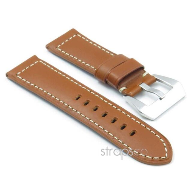 DASSARI Monaco Smooth Vintage Italian Leather Mens Watch Band Strap for Panerai
