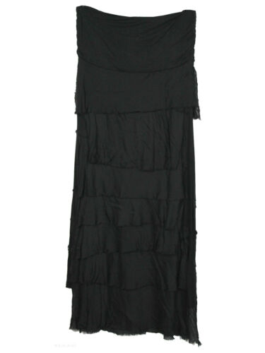 New Womens Italian Layered Ruffle Frill Tiered Lagenlook Silk Ladies Maxi Skirt