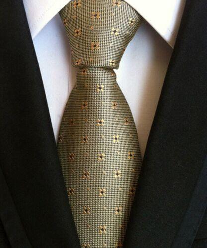 Cravate 100/% SOIE homme 8 cm liens Business Hommes Jacquard rayé des contrôles tissé Cravate