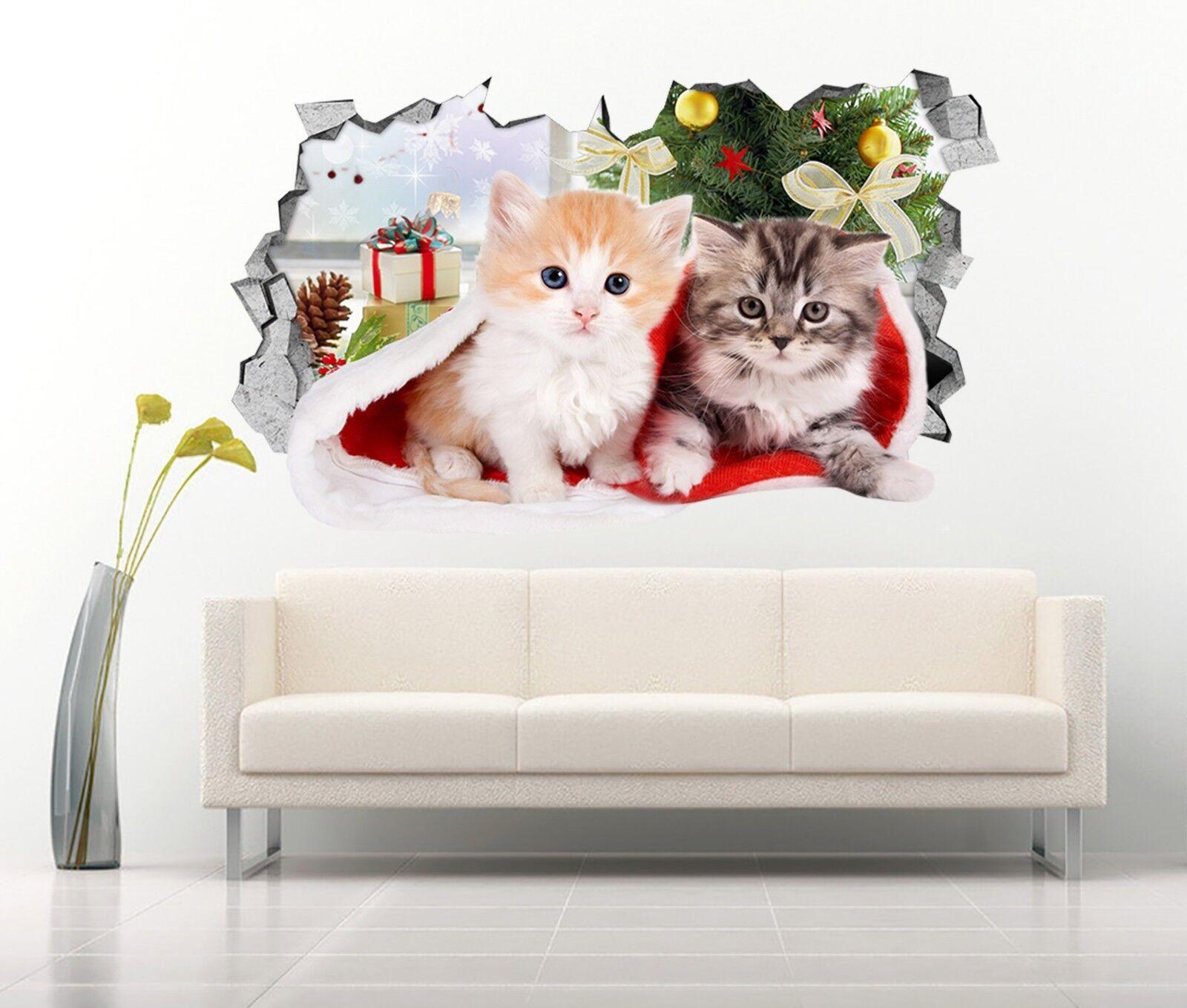 3D Gatti Di Natale 135 Parete Murales Adesivi Decal Sfondamento AJ WALLPAPER IT