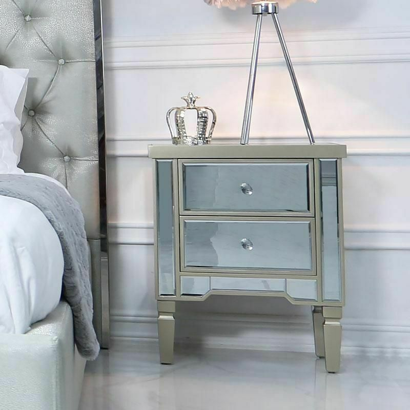 Champagne Mirrored Bedside Table Chest, Mirrored Glass Bedroom Furniture