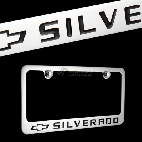 3D Chevrolet SILVERADO Stainless Steel License Plate Frame 2PCS Front /& Back