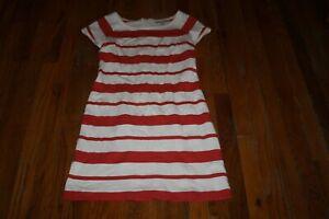 BANANA-REPUBLIC-WOMEN-039-S-WHITE-amp-RED-STRIPED-TEE-SHIRT-DRESS-SIZE-2