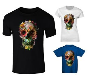 8fff6a15cd1 Details about Floral Skull Skeleton Flowers T-shirt - Mens, Womens, Kids  Sizes