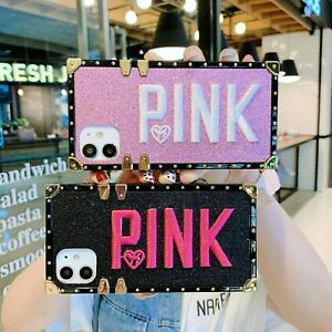 Embroidery-PINK-Bling-Square-Bumper-Case-Cover-f-iPhone-11-Pro-X-XR-XS-Max-678