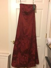 Red Silk Ralph Lauren Prom Dress Gown Floral Size 4 NEW