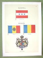 FLAGS Raratonga or Cook Islands & Romania - 1899 Color Litho Print