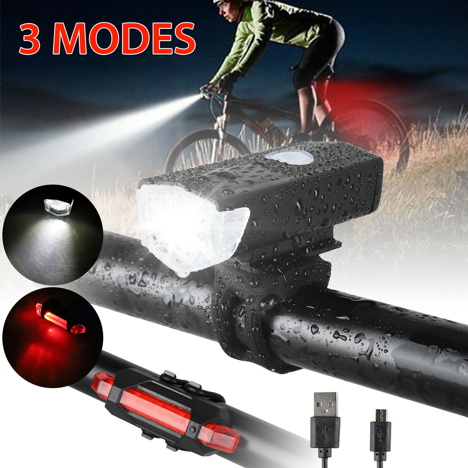 Bright USB Led Bike Bicycle Light USB Rechargeable Headlight /&Taillight W//Horn