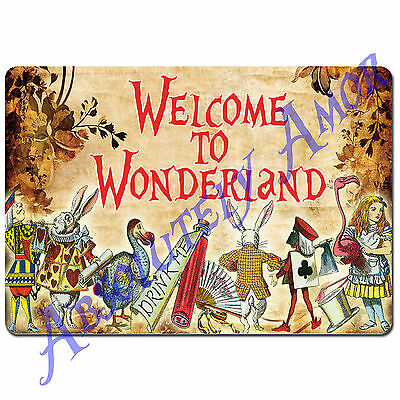 1 Alice in Wonderland A4 WELCOME Sign/Prop Mad Hatters Vintage Tea Party 28cm
