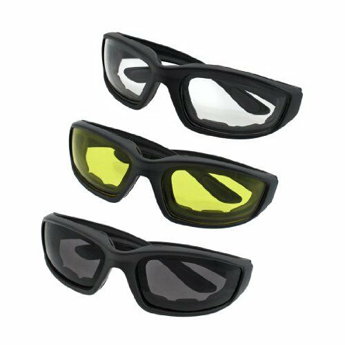 3 Pair Motorcycle Sport Biker Riding Glasses Padded Wind Resistant Sunglasses AM