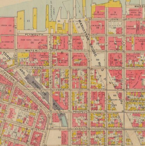 8 COPY ATLAS MAP 1908 DUMBO BROOKLYN NEW YORK MANHATTAN /& BROOKLYN BRIDGE P.S