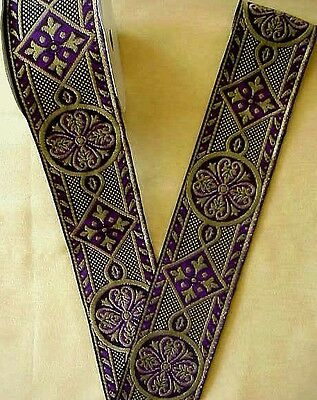 Wide Purple Jacquard Trim Vestment Medieval Style