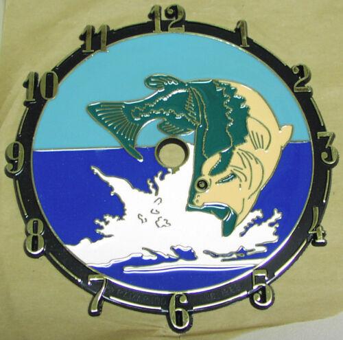 "USA made 5 3//4/"" dia 2 Bass Fish Clock Faces in Brilliant color,self-stick dial"