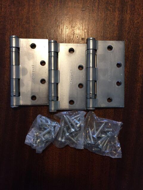 """Lot Of 5 Vintage Hager Stainless Steel Industrial Door Hinges 4.5/""""x 4.5/"""""""