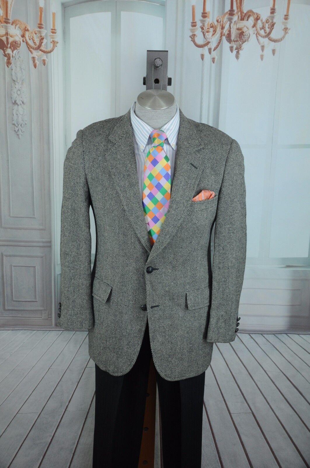 Hart Schaffner Marx Herren Grau Tweed Fischgräten Wollblazer Sport Mantel 40R