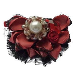 Barrette-Pince-a-Cheveux-rouge-doux-et-noir-satin-dentelle-perles-strass