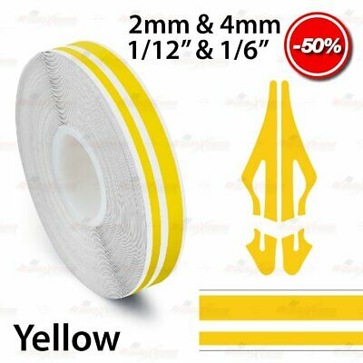 "12mm 1//2/"" PinStriping Pin Stripe 2mm /& 4mm Car Tape Decal Vinyl Sticker YELLOW"