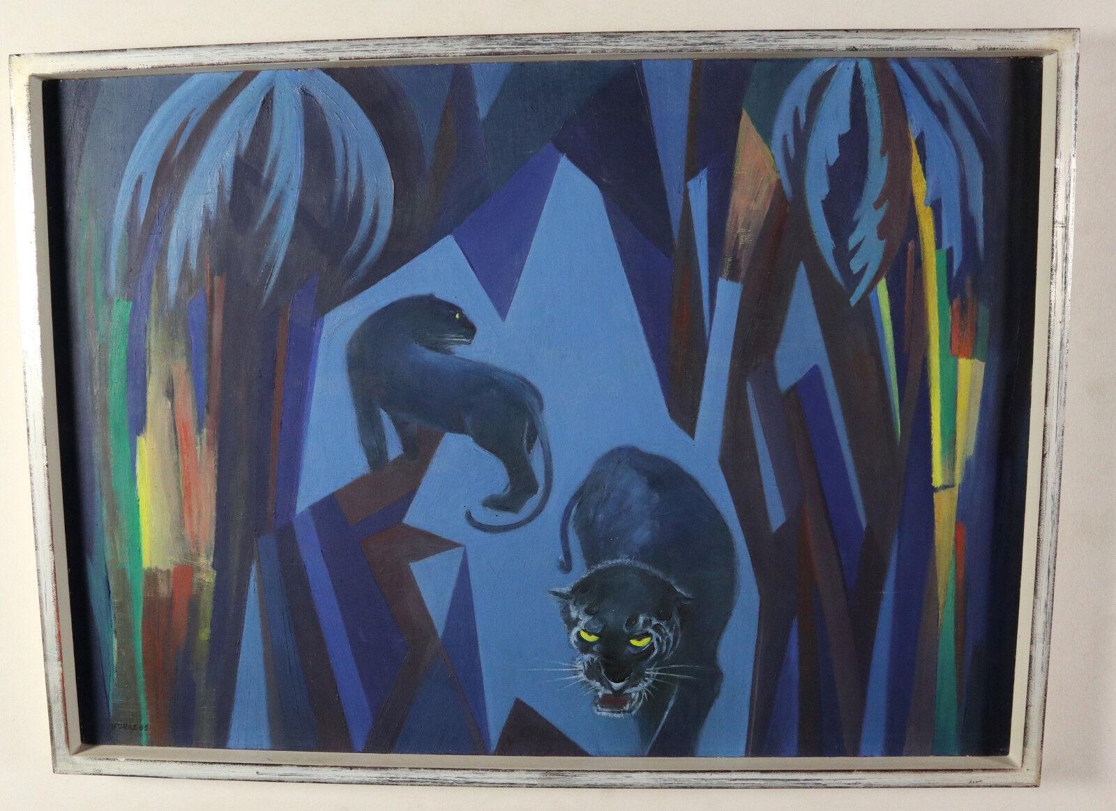Scintilla OLIO OLIO OLIO DIPINTO 1965 Panther astratto blu foresta vergine giungla Panthers 89x69cm 1bb176
