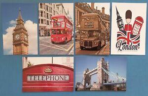 Set-of-6-London-Postcards-England-City-View-Street-Travel-Landscape-Postcards