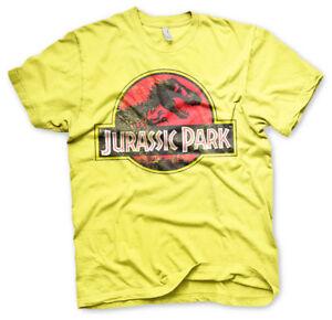 Jurassic-Park-1993-Original-Distressed-Logo-T-Rex-Maenner-Men-T-Shirt-Gelb-Yellow