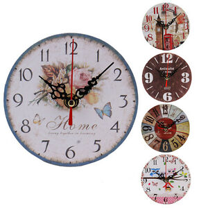 Hot-Sale-Vintage-Wood-Wall-Clock-House-Home-Office-Shabby-Chic-Antique-Style