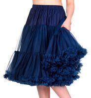 Banned 50s Dress Rockabilly 26 Petticoat Vtg Super Soft Underskirt Navy Blue