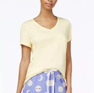HUE Womens Short Sleeve Solid Pajama Top Custard S
