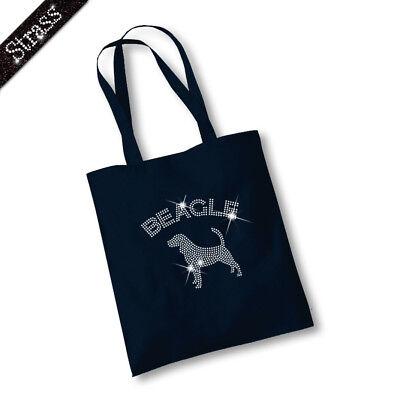 Jutebeutel Beutel Bag Einkaufstasche Shopper Strass Hund Beagle M1