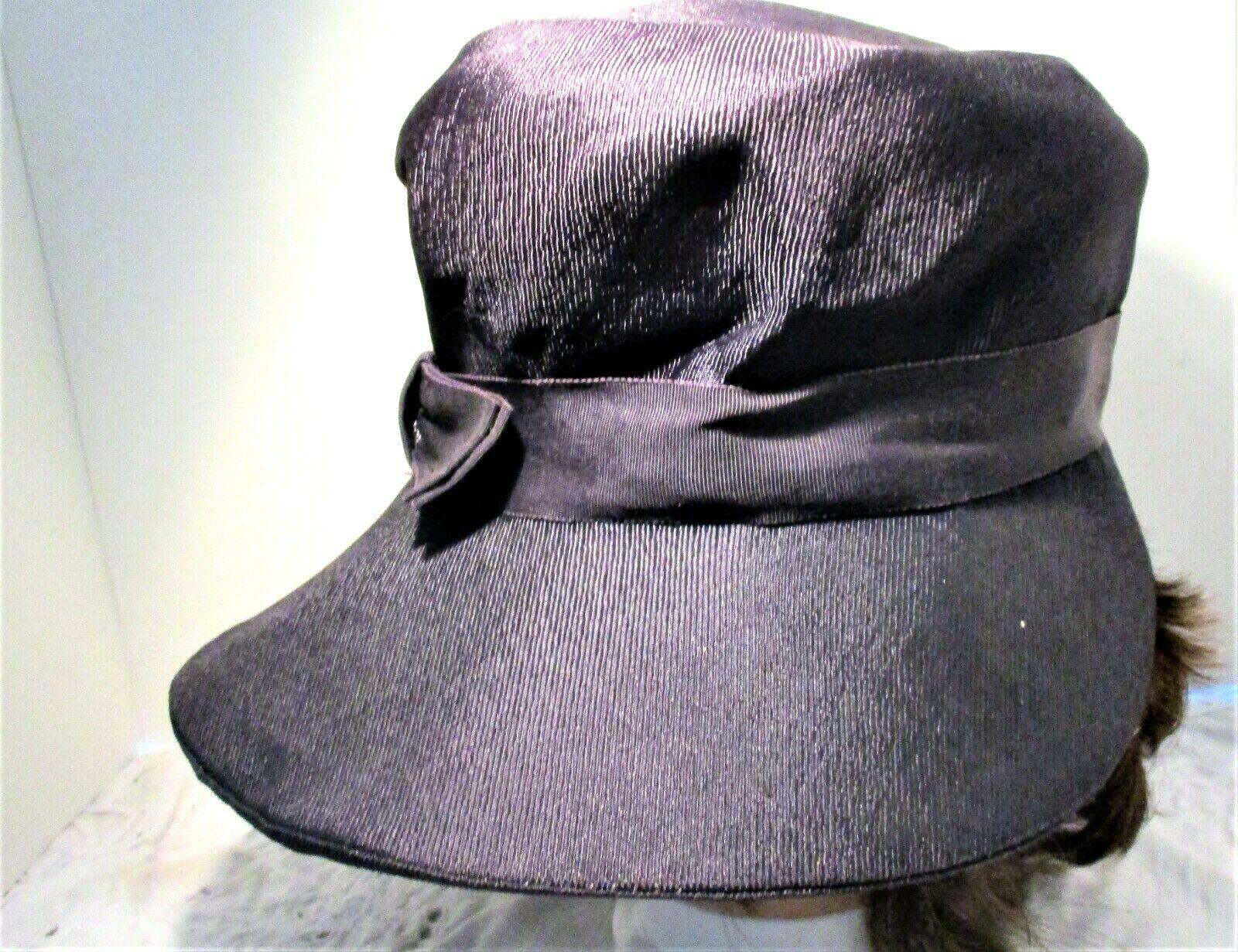 Vintage 1930s Navy Blue Wide Brim Hat With Grosgr… - image 2