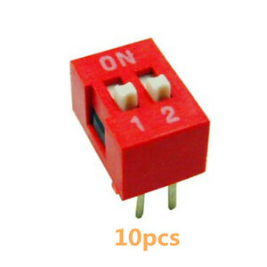 50PCS Red 2.54mm Pitch 2-Bit 2 Positions Ways Slide Type DIP Switch
