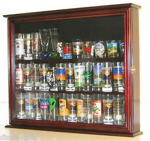 Image Is Loading Tall Shot Glass Display Case Cabinet Shooters Holder