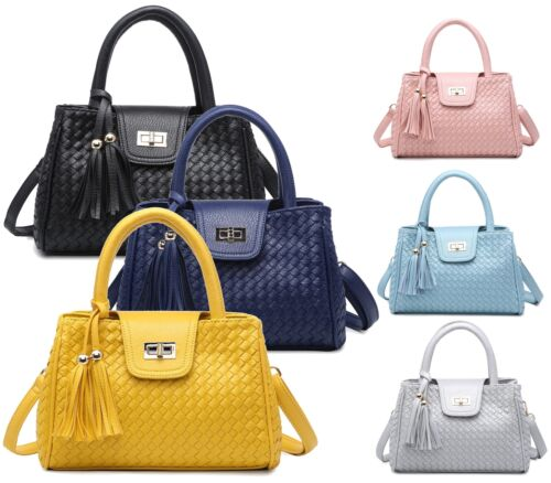 LADIES TOTE TWIN HANDLE GRAB FASHION OFFICE WORK WEAVE CLASP WOMENS SHOULDER BAG