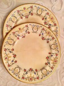 Wright-Tyndale-amp-Van-Roden-London-Plates-24K-Gilt-Floral-RIbbon-Philadelphia